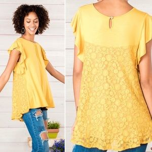 Matilda Jane bocce ball mustard yellow top